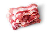 Bacon strips arranged in layers top view