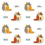 Happy furry  cats seamless pattern.