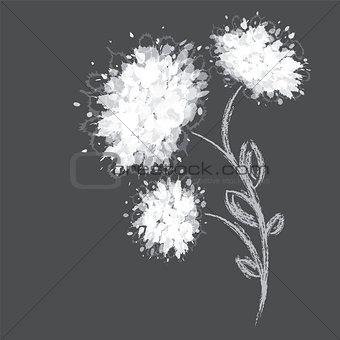 Three flower shapes on dark background.