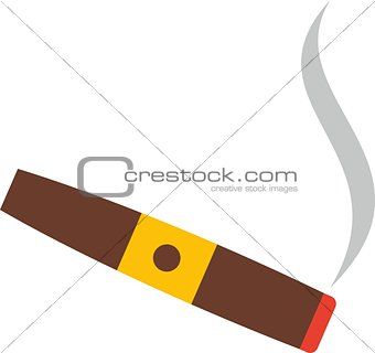 Flat cigar with smoke