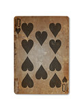 Very old playing card, ten of hearts