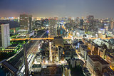 Night view of Tokyo skyline, long exposure