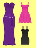 set of evening dresses of different styles