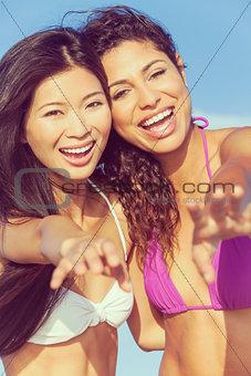 Beautiful Bikini Women Girls Laughing At Beach