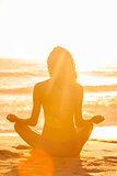 Woman Girl Sitting Sunrise Sunset Bikini Beach