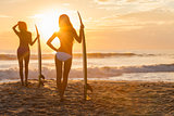 Women Bikini Surfer & Surfboard Sunset Beach