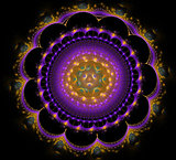 Abstract fractal fantasy violet rounded pattern and shapes.