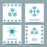 Set of four vector white square cards with ethnic design