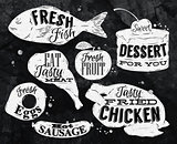 Eat symbol vintage in chalk lettering eggs, apple, chicken, cake, fish, meat, sausage
