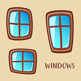 Cartoon wooden windows collection