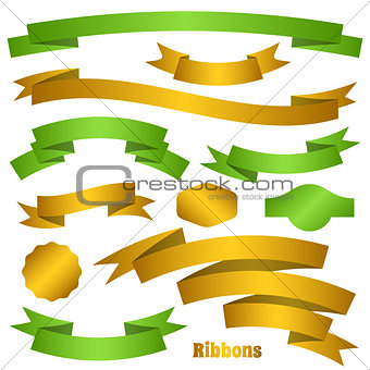 Green and golden ribbon banners
