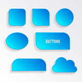 Various blue buttons with shadows