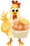 Mother hen holding a basket of eggs