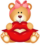Teddy bear girl holding lips