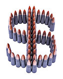 Symbol of dollar made of bullets