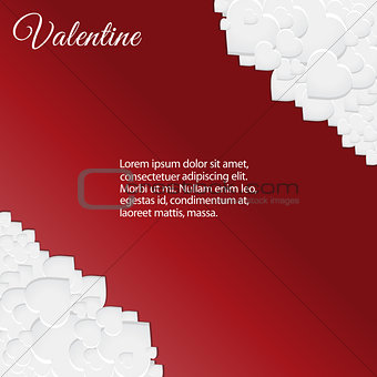 Valentine card with white hearts corners