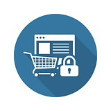 Safe Shopping Icon. Flat Design.