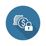 Secured Loan Icon. Flat Design.