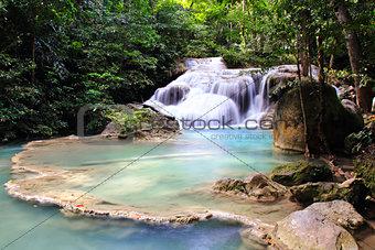 Beautiful Waterfall at Erawan National Park in Kanchanaburi ,Tha