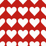 Seamless pattern with white hearts