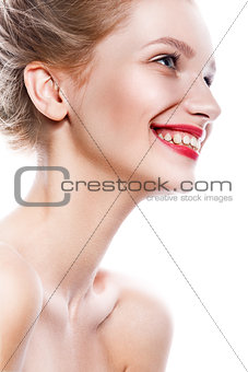 Beauty Woman. Beautiful Young Female. Portrait isolated on White Background. Healthcare. Perfect Skin.