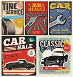 Vintage set of vector cars for advertising