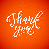 Thank You Card Calligraphic Inscription. Hand Lettering on Red Orange Star  Background