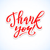 Thank You Card Calligraphic Inscription. Hand Lettering on White Paper Background