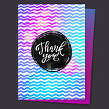 Shine Paint Stain Zigzag Thank You Card. Circle Black Stroke
