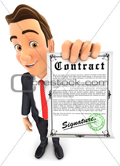 3d businessman holding signed contract