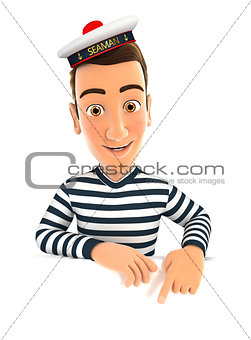 3d seaman pointing to empty wall