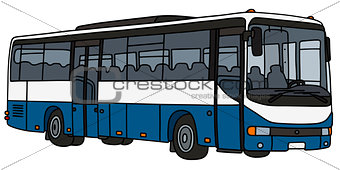 Blue and white bus