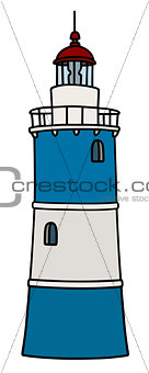 Old blue and white lighthouse
