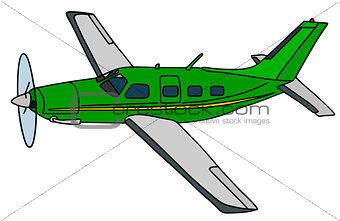 Green propeller airplane