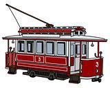 Vintage dark red tramway