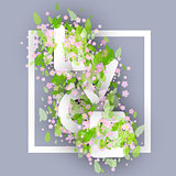 Love Word Made Of Chamomile Or Daisy Flowers And Leaves. Vector.