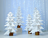 Fantastic forest of paper Christmas trees