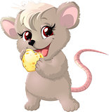 Cute mouse holding cheese