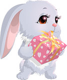 cute bunny holding a box with gifts