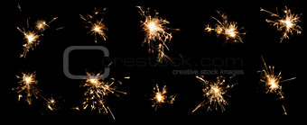 A few frames of the burning Bengal fire with sparks on black background. Closeup. Isolation. Set.