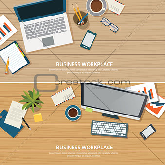 top view office workplace on wood table