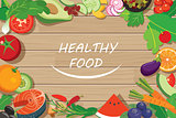 healthy food frame on wood table