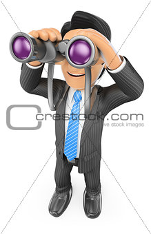 3D Businessman looking through binoculars. Visionary