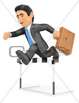 3D Businessman in a hurdle race. Overcoming concept