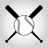 Crossed baseball bats and ball.