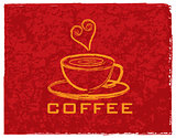 Cup of Coffee with Love on Red Background Illustration