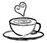 Cup of Coffee with Love Abstract Illustration