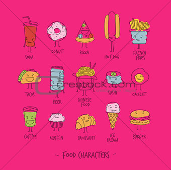 Food characters pink