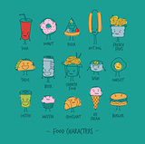 Food characters turquoise