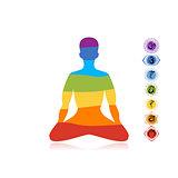 Yoga lotus pose with chakras for your design